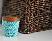 Aqua Ice Cream Cozy Crocheted Holder Pint Size Eco Friendly Reusable Cover Get Well Gift Friend Gift Easy Hold - Stocking Stuffer