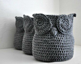 3 Grey Owl Baskets Crocheted Bin Yarn Holder Woodland Nursery Decor Home Organizer Custom Colors
