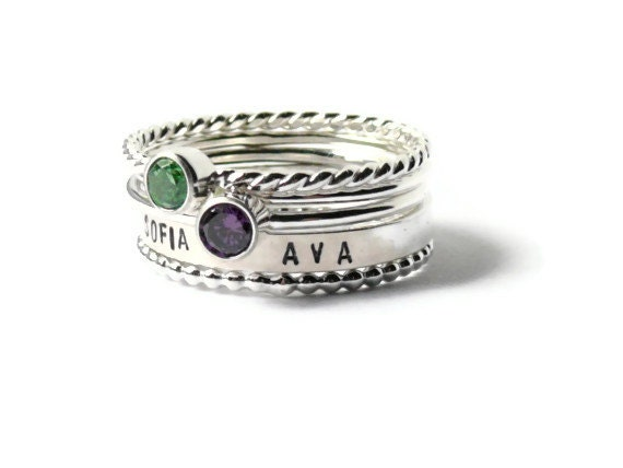 personalized ring name ring sterling silver stacking ring set