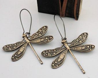 Vintage Earrings - Art Nouveau Earrings - Dragonfly Earrings - Brass Earrings -Nature Jewelry - Statement Earrings - handmade jewelry