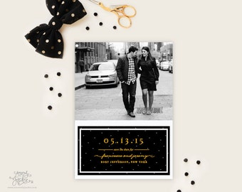 SAVE THE DATE - Glistening Black, Gold, Grey, and White Photo Save the Date Cards by Sincerely, Jackie