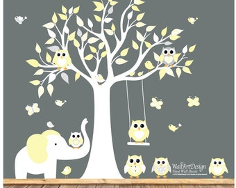 Wall decals nursery - Nursery wall decal - Elephant decal - Children Wall decal - Nursery Tree Vinyl Decal - Nursery decals - nursery
