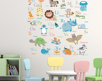 Vinyl Wall Decal   ABC Wall Decal - Animal Alphabet Decal - Nursery Wall Decal