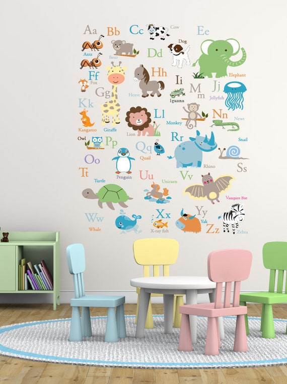 Vinyl Wall Decal ABC Wall Decal Animal Alphabet Decal - Nursery wall decals animals