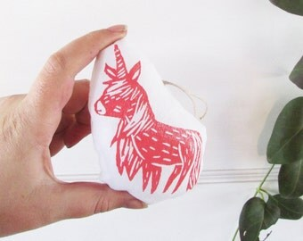 Unicorn Ornament. Mini Plush. Hand Stamped.Choose any Color. Made to Order.
