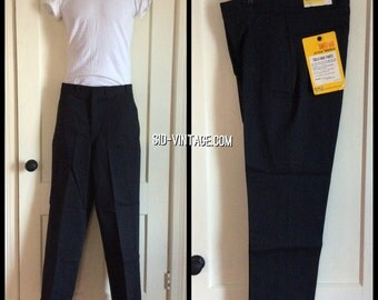 1950's Deadstock Black speckled Salt + Pepper Sweet-Orr Tug-O-War Whipcord Work Dungaree Pants 32x32 NOS NWT