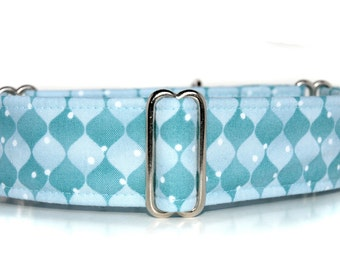 2 inch Martingale, Blue Ice,  Wintery Blue Martingale Dog Collar