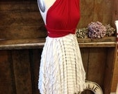 """Ready to Ship- Petite, 24"""" Length- Holiday Vintage Ivory Ruffle with Wild Coast Red Octopus Infinity Convertible Wrap Dress- Bridesmaids"""