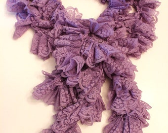 Long Lavender Lace Ladies Ruffle Scarf