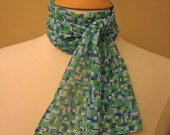 SALE - small blue/green sheer print scarf - 60s inspired