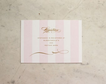 registry cards - gold and pink striped