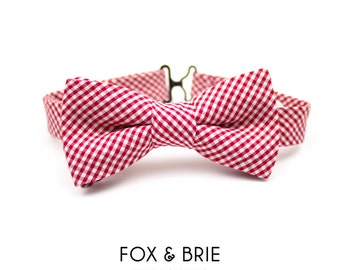 Cherry Gingham Kids Bow Tie