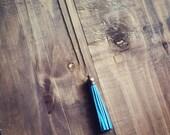 Pink Lemonade Long Turquoise Antique Brass Tassel Charm Necklace