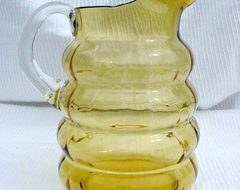 Amber Depression Glass Large Pitcher/Ewer with Rolls Amber GlassHome and Garden Kitchen and Dining Serve Ware Tableware Ewers