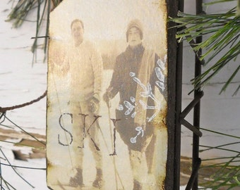 Fetching Vintage Couple Snow Skiing - Large Rusty Tin Sled - Vintage Ski - Ornament - Vintage Sled - Ski - Sled - Rustic - Wedding - Winter