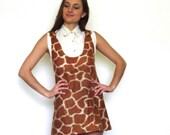 60s Furry Giraffe Print Micro Mini Babydoll Jumper Dress xxs xs s