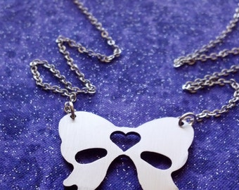 Bow Charm Necklace or Pendant, Stainless Steel, Made in USA