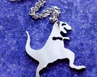 Dancing Dinosaur TRex Necklace Key Chain or Pendant