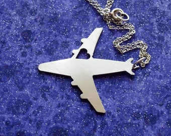 I Heart Travel Airplane - Necklace Pendant or Keychain
