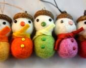Felt ball acorn snowman Christmas tree ornament set of 5 pink and yellow mix