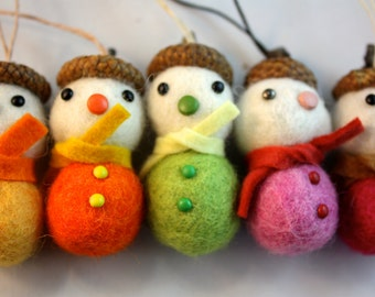 Felt ball acorn snowman Christmas tree ornament set of 5 pink and yellow mix