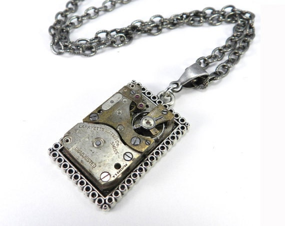 Steampunk Necklace - Silver Square Antique Watch Pendant - Upcycled Mechanical - Industrial, Steampunk Jewelry by compassrosedesign