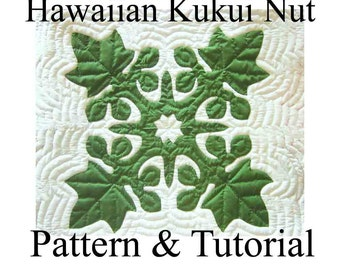 """Hawaiian Quilt Block """"Kukui Nut"""" Candlenut, Pattern and Tutorial PDF, Instant Download, Step By Step Instructions, Photos, Hawaiian Quilting"""