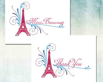 French Eiffel Tower Thank You Cards, Merci Beaucoup or Thank You, Red Blue or Purple Aqua, Set of Ten, Blank Inside, Wedding Birthday Shower