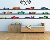 Race Car Decals 24 FEET ROADWAY Reusable Decal Non-toxic Fabric Wall Decals for Kids, A181
