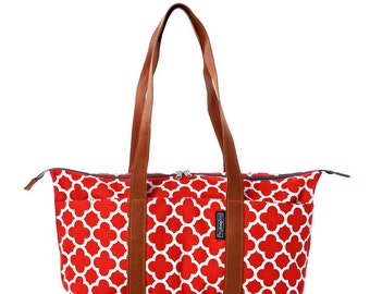 Red cotton,Canvas, tote bag, laptop bag - Shay tote messenger