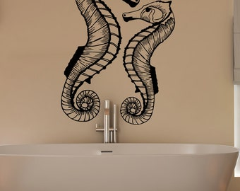 Vinyl Wall Decal Sticker Two Seahorses 1515B