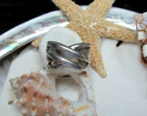 Sterling Silver Crossover Open Work Wide Band Ring 8.75g  Size 6