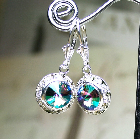 New Swarovski Color - Crystal Paradise - Crystal Halo Earrings in Crystal Paradise - Sterling Silver Leverbacks
