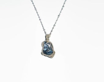 Double Sided 3.74ct Australian Sapphire Necklace Twisted Sterling Silver.925 Wire Wrapped