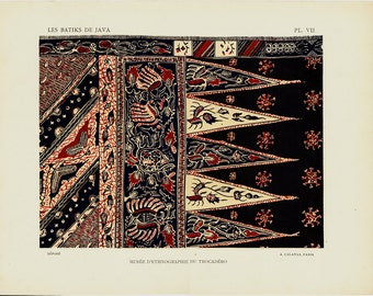 1925 Antique DECORATIVE ARTS print, Java Batik stampings, floral and geometric very decorative antique lithograph