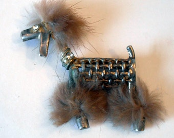 Vintage Metal Mesh Poodle With Fur Trim and Rhinestone Accents