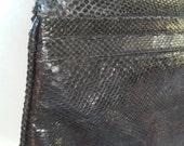 70s ROWELT / BURDINES--Black Snakeskin Shoulder Bag--Linked Golden Chain--Made in Spain