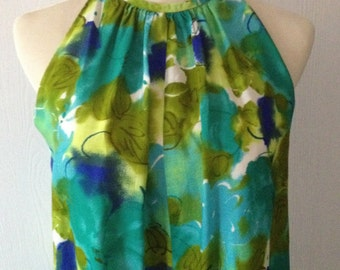 Vintage Hawaiian Print and Karen Ann Made, 1950 1960 Bold Vivid Blue Green Sleeveless Long Dress