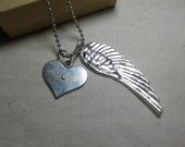 Angel Wings -  charm with handstamped initial on a heart shaped charm - long chain