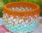 Colorful Spring Fling Rag Crochet Basket, Gift Basket, Crochet Basket, Colorful Mother's Day Gift Basket