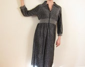 Vintage 1970s Metallic Silver Dress or Lounger / 70s Zip Front Maxi Dress in Lamé / Medium