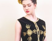 Vintage Black Velvet Moroccan Vest with Metallic Braid Trim / Black and Gold Cropped Top with Soutache / Medium