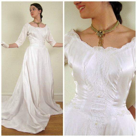 Vintage Wedding Dresses Boston: Vintage 1950s Wedding Dress Priscilla Of Boston / By
