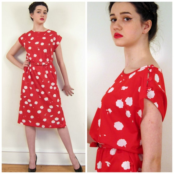 Vintage 1970s Graphit Print Dress / 70s Red and White Sleeveless Dress / Large