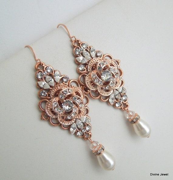 Rose Gold Chandeliers Earrings wedding rhinestone earrings