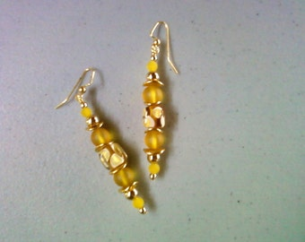 Lemon Yellow and Gold Earrings (1245)