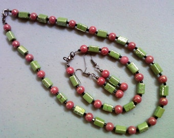 Pink, Green and Black Necklace, Bracelet and Earrings (0080)