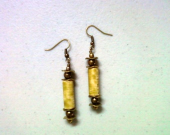 Olive Green and Brass Earrings (1446)