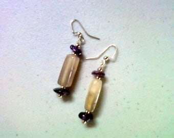 Agate and Amethyst Stone Earrings (1424)