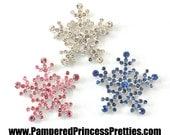 "Set of 3- Snowflake Bling- You Choose Colors- Approximately 26mm (1"")  Rhinestone Center, Rhinestone Snowflake Embellishment"